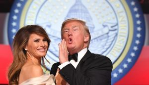 US president Donald J Trump  and first lady Melania Trump  dance at the Freedom Ball in Washington DC. Photograph:  EPA