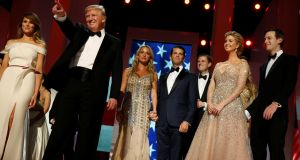 US President Donald Trump and first lady Melania Trump, along with the older Trump children and their spouses, attend the Liberty Ball in honor of his inauguration in Washington. Photograph:  Jonathan Ernst/Reuters