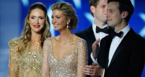 Ivanka Trump and husband Jared Kushner on stage at the Freedom Inaugural Ball at the Washington Convention Center January 20, 2017 in Washington, D.C. Photograph: Aaron P. Bernstein/Getty Images