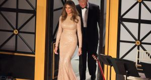 President-elect Donald J. Trump and wife Melania Trump arrive for the Indiana Society Ball to thank donors January 19, 2017 in Washington, DC. Photograph: Chris Kleponis/Getty Images