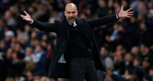 Manchester City manager Pep Guardiola during his team'c clash with Tottenham. Photograph: Reuters
