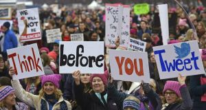 Protesters at the Women's March in Washington on Saturday.  Photograph: Andrew Caballero/AFP  /Getty