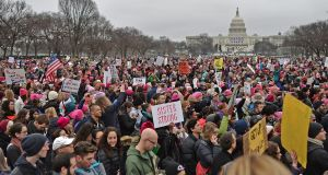 Thousands  protest on the National Mall in Washington DC on Saturday. Photograph: Andrew Caballero-Reynolds/AFP/Getty