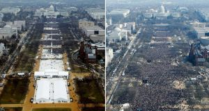 Crowds on the National Mall in Washington DC just before Donald Trump's inauguration in 2017 (left) and Barack Obama's in 2009. Photograph: Reuters
