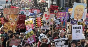 Protesters make their way through the streets of London during the Women's March on Saturday. The Women's March originated in Washington DC but soon spread to be a global march calling on all concerned citizens to stand up for equality, diversity and inclusion and for Women's rights to be recognised around the world as human rights. Photograph: Dan Kitwood/Getty Images