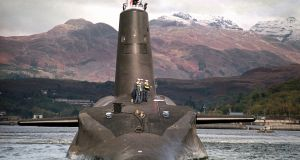 A British Royal Navy Trident nuclear submarine: last June parliament voted to spend £40 billion  on new Trident submarines. Photograph: PA Wire