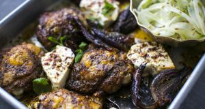 Ras-el-hanout chicken thighs with baked feta and shaved salad