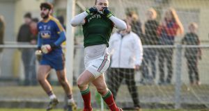Mayo's Andy Moran celebrates scoring his team's winning goal. Photograph: Tom Beary/Inpho