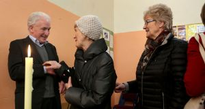 Fr Tony Flannery meets supporters after a Mass to mark his 70th birthday, at Killimordaly Community Hall, Co Galway on Sunday. Photograph: Joe O'Shaughnessy