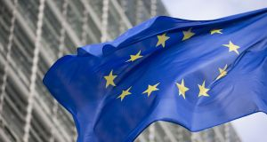 Challenges: an EU flag flies outside the European Commission  in Brussels. Photograph: Jasper Juinen/Bloomberg