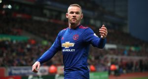 Manchester United's Wayne Rooney, who broke his duck – and Stoke City – with a goal scored from a free kick   at the Bet365 Stadium on Saturday. Photograph: PA