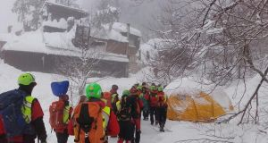 Rescue workers continue to search for the  24 missing people  four days after an avalanche hit the Hotel Rigopiano in  the Abruzzo region of Italy. Photograph: EPA/Soccorso Alpino