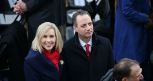 "Reince Priebus and wife Sally Priebus arrive for Trump's inauguration:  ""This was the largest audience to ever witness an inauguration, period."" Photograph: Daniel Acker/Bloomberg"