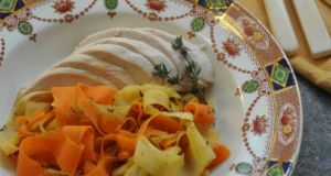 Root vegetable ribbons with chicken and thyme