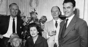 At a press conference for the play Dazzling Prospect at the Olympia Theatre in 1961 were Margaret Rutherford, actress; Keane, who co-authored the play; and standing, John Perry, co-author of the play; Sir John Gielgud, actor; and Richard Leech, director. Photograph: Dermot Barry