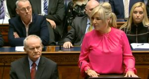 Video grab taken from the Northern Ireland Assembly of Michelle O'Neill speaking during an plenary session at Stormont earlier this month.