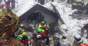 Soccorso Alpino volunteers and rescuers at work in the area of the hotel Rigopiano in Farindola, Abruzzo region on Monday. Photograph: Soccorso Alpino/EPA