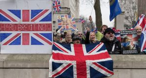 Protesters call for a hard Brexit near 10 Downing Street, in London, Britain. Photograph: Hayoung Jeon/EPA