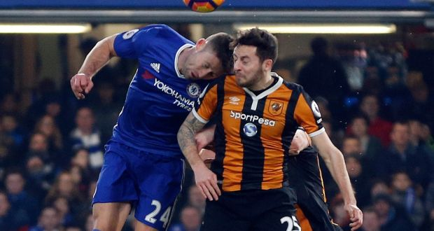 Hull Citys Ryan Mason Right Gets Injured During A Header With Chelseas Gary Cahill