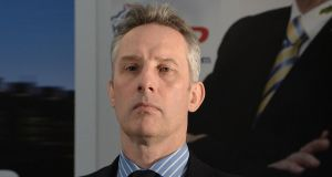 File image of Ian Paisley jnr at a DUP press conference  in Antrim, Northern Ireland. File photograph: Charles McQuillan/Getty Images