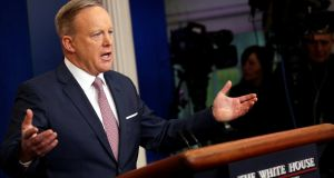 White House spokesman Sean Spicer holds his first press briefing at the White House in Washington, on Monday. Photograph: Jonathan Ernst/Reuters