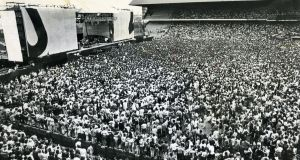 Crowds anticipate U2's arrival onstage for their June 28th 1987 gig in Croke Park, Dublin. Photograph: Dermot O'Shea/The Irish Times