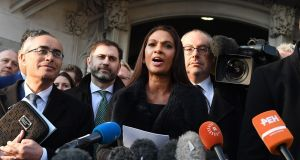 Gina Miller, the lead claimant in the article 50 case, delivering  a statement outside the supreme court in London on Tuesday morning. Photograph: Andy Rain/EPA
