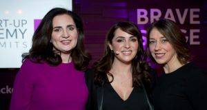 Ciara Garvan of Workjuggle, MC Gráinne Seoige, and Emer Cooney of Hydrasure