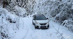 With the system's hill assist in full action the Peugeot 3008 holds its place on the slippy slope