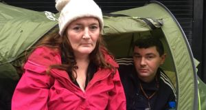 Michelle Kavanagh and Anthony Quinn, who ate Christmas dinner in their tent, not far from O'Connell Street in Dublin. Photograph: Enda O'Dowd/The Irish Times