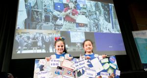 Sophie Guilfoyle and Andrea Ford from Mary Queen of Ireland Caherdavin Limerick pictured at talk with European Space Agency (ESA) astronaut Thomas Pesquet live from the International Space Station (ISS). Photograph: Brian Gavin Press 22