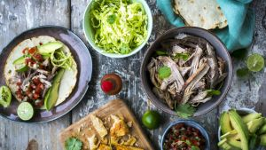 Beer braised pork carnitas with all the trimmings. Photograph: Donal Skehan