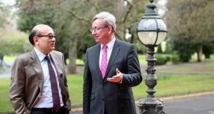 Norman Liu, former CEO of GECAS, with  professor Ciarán Ó hÓgartaigh, dean of UCD business at the launch of Europe's first masters in aviation finance at UCD Michael Smurfit Graduate Business School. Photograph: Jason Clarke