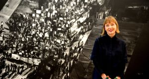 "Joy Gerrard with her new exhibition, Shot Crowd, at the RHA Gallery: ""We're all activists now.""   Photograph: Eric Luke"