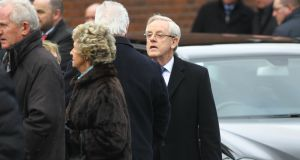 Former public relations practitioner and lobbyist Frank Dunlop at the funeral of Owen O'Callaghan on Tuesday. Photograph: Michael Mac Sweeney/Provision