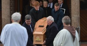 The remains are removed at the funeral of Owen O'Callaghan at St Patrick's Church, Rochestown, Cork, on Tuesday. Photograph: Michael Mac Sweeney/Provision