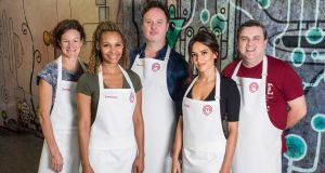 Sonia with her fellow 'Celebrity MasterChef' contestants, from left: Samantha Mumba, Mundy, Holly Carpenter and Simon Delaney. Photography Ruth Medjber