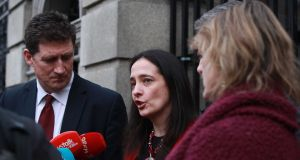 "Green Party leader Eamon Ryan with Catherine Martin TD and Senator Grace O'Sullivan: Martin said ""there is a duty on Government to protect its people against incompetent rogue cowboy builders"". Photograph: Leah Farrell/RollingNews.ie"