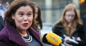 "Mary Lou McDonald outside Leinster House: ""We can only go into government when we are confident that we are in a position to deliver."" Photograph: Gareth Chaney Collins"