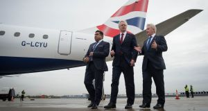 UK aviation minister Tariq Ahmad, Brexit secretary David Davis and London City Airport chief executive Declan Collier following a meeting to discuss Brexit's implications for aviation. Photograph: Stefan Rousseau/AFP/Getty Images