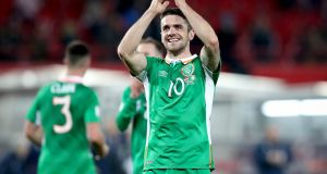 Ireland's Robbie Brady is on the verge of leaving Norwich. Photograph: Ryan Byrne/Inpho