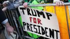 A Donald Trump banner at the New York St Patrick's Day parade in . . . 2011.  Photograph: Mario Tama/Getty Images