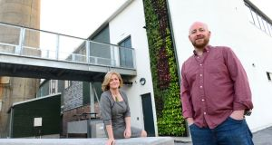 Dr Sarah Miller and Roger Warburton, operations manager at The Living Wall,  at the Rediscovery Centre, in The Boiler House, Ballymun, Dublin. Photograph: Dara Mac Dónaill