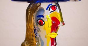 "This  Murano glass sculpture, titled ""Head with Fruit - a Homage to Picasso"" by Walter Furlan, is expected to fetch  €3,000-€4,000 at Oliver Usher's Auction Rooms in Co Meath"