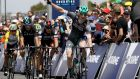 Sam Bennett of Bora-Hansgrohe celebrates as he crosses the line to win the Men's Towards Zero Race Melbourne in Melbourne, Australia. Photograph:  Robert Cianflone/Getty Images