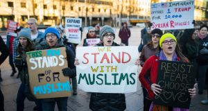Supporters of Muslim Americans host a rally against President Donald Trump's 'Muslim ban' policies in Washington, DC, on Thursday. Photograph: Jim Lo Scalzo/EPA.