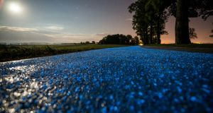 Illuminated cycle paths in Poland. Photograph: Strabag