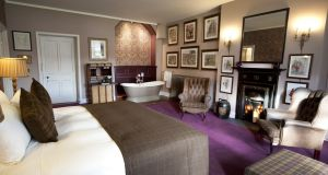 The Desmond suite at Castle Leslie in Monaghan has views over Glaslough Lake.