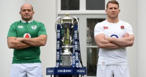 Ireland captain Rory Best and England captain Dylan Hartley next to the Six Nations trophy during the tournament launch at The Hurlingham Club in London. Photograph:  Facundo Arrizabalaga/EPA