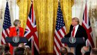 UK prime minister Theresa May listens to US president Donald Trump during their joint news conference at the White House in Washington DC. Photograph: Kevin Lamarque/Reuters